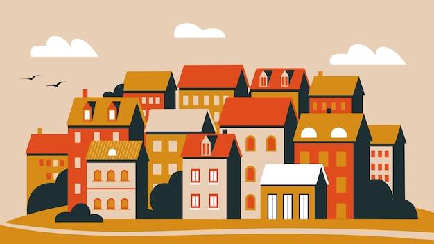 Zachód słońca w ilustracji miasta.
