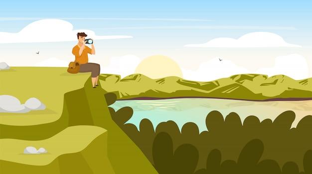 Zachód słońca w lesie ilustracji. krajobraz z plecakiem fotografa. mężczyzna siedzieć na wzgórzu. fotograf na szczyt. zachód słońca nad jeziorem. scena panoramiczna. postaci z kreskówek turystycznych mężczyzn