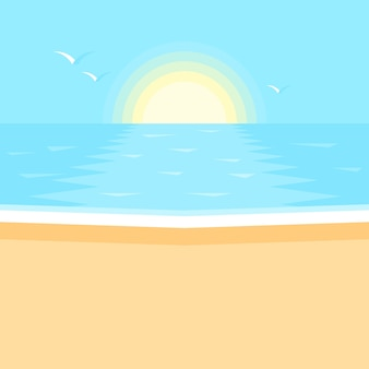 Zachód słońca w oceanie. morze, czysta piaszczysta plaża.