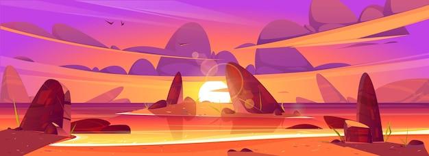 Zachód słońca w oceanie różowe chmury na niebie nad morzem