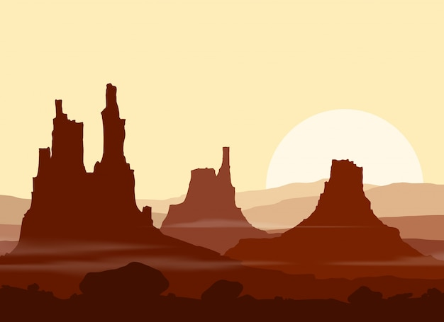 Zachód słońca w ogromnych górach