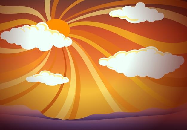 Zachód słońca widok z chmurami