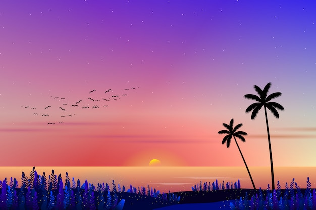 Zachód słońca z pejzaż morski