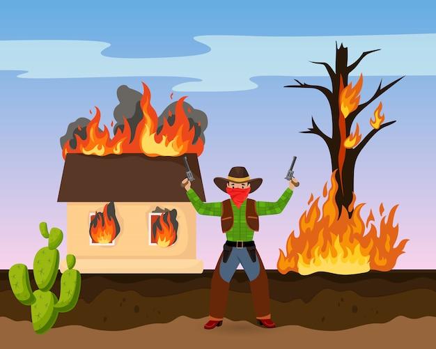 Zachodni rabusia strzału pistolet, dom na ogienia ataku plądra płaskiej wektorowej ilustraci. amerykański kaktus z dzikiego zachodu, bandyta polujący na szeryfa.