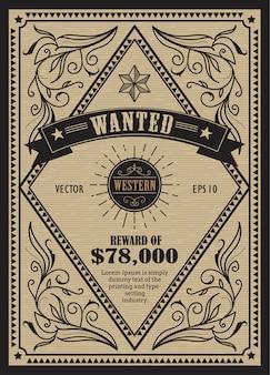 Zachodnia antykwarska etykieta retro rama chciał retro ręcznie rysowane