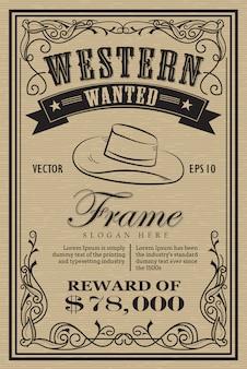 Zachodnia etykietka retro rama chciał retro ręcznie rysowane wektor ilus