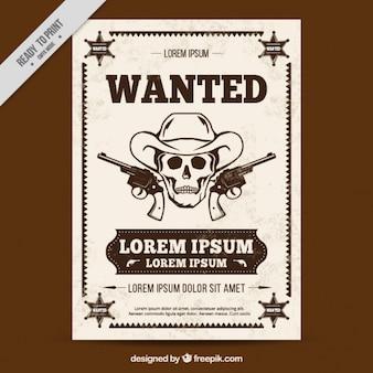 Zachodnia plakat z czaszki szkic