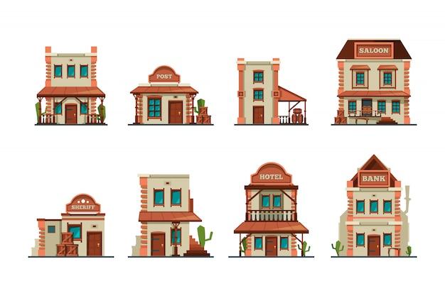 Zachodnie budynki. kolekcja salonu konstrukcji z dzikiego zachodu