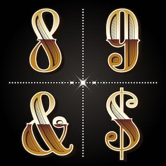 Zachodnie gradientowe litery alfabetu i cyfry