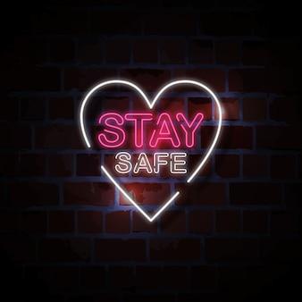 Zachować bezpieczeństwo neon znak styl ilustracji