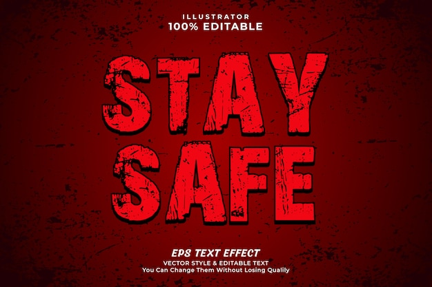 Zachowaj bezpieczeństwo efekt vintage tekstu. edytowalny styl