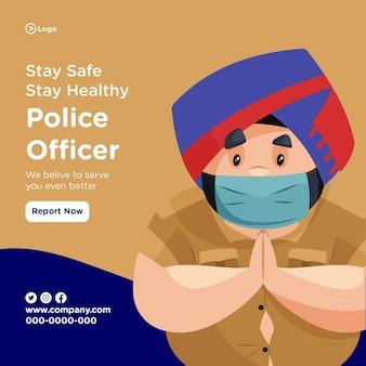 Zachowaj bezpieczeństwo, pozostań zdrowy projekt transparentu z policjantem noszącym maskę chirurgiczną i stojącym z powitalną ręką
