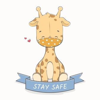 Zachowaj bezpieczeństwo wiadomość z cute żyrafa noszenie maski ręcznie rysowane kreskówki