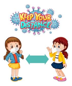 Zachowaj czcionkę odległości w stylu kreskówki z dwójką dzieci utrzymujących dystans społeczny na białym tle