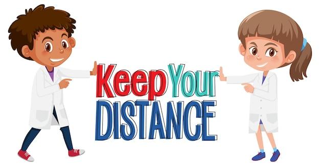 Zachowaj czcionkę odległości z postacią z kreskówki lekarzy