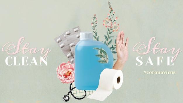 Zachowaj czystość, bądź bezpieczny podczas pandemii koronawirusa, wektor szablonu społecznego