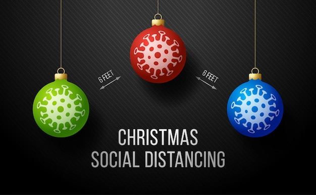 Zachowaj dystans społeczny merry christmas banner z realistyczną piłką drzewną.