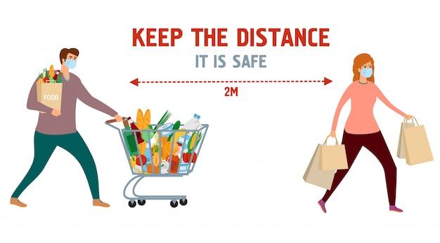 Zachowaj odległość. plakat informacyjny. mężczyzna i kobieta w sklepie spożywczym z wózkiem i torby z jedzeniem. dziewczyna i chłopak na zakupy w maski ochronne. bezpieczne życie, ilustracja informacji o zapobieganiu wirusom