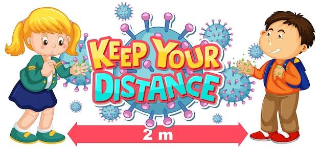 Zachowaj odległość projektu czcionki z dziećmi pokazującymi brudne ręce i ikonę koronawirusa