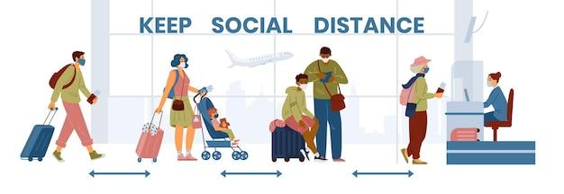 Zachowaj odległość społeczną na banerze na lotnisku, gdy ludzie stoją w kolejce do odprawy w maskach