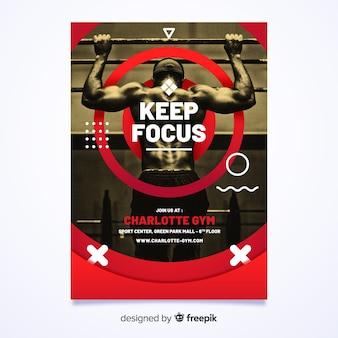 Zachowaj ostrość plakat w stylu memphis