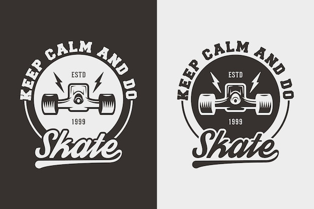 Zachowaj spokój i rób skate vintage typografia skateboarding t shirt design illustration