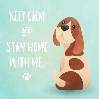 Zachowaj spokój i zostań ze mną w domu - zabawne inspirujące hasło kwarantanny i blokady coronavirus. ładny pies gończy pies patrząc wstecz i błagając o uwagę. ilustracja.