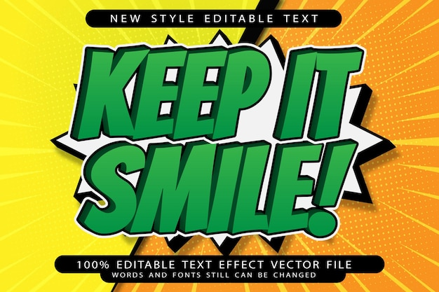 Zachowaj uśmiech, edytowalny efekt tekstowy, wytłoczony styl kreskówek