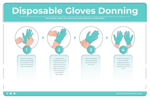 Zachowaj zdrowie jednorazowe rękawiczki zakładanie infographic