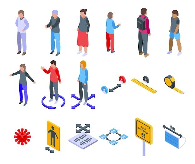 Zachowaj zestaw ikon odległości. izometryczny zestaw ikon wektorowych zachować odległość do projektowania stron internetowych na białym tle