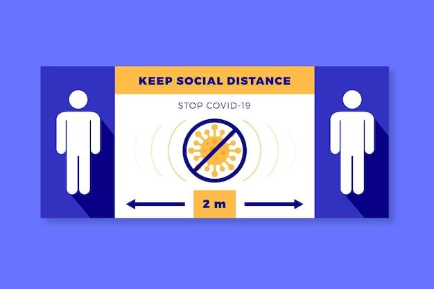 Zachowaj znak odległości społecznej baneru
