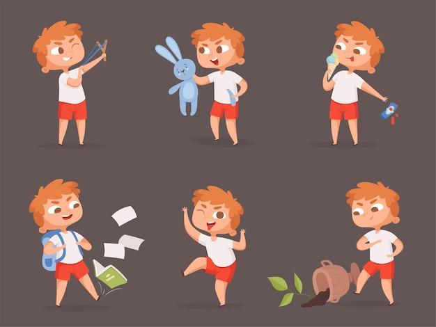 Zachowanie dzieci. źli wściekli chłopcy dokuczają dzieciom zestaw kreskówek. ilustracja wściekłe dziecko, zachowanie złe i niekontrolowane