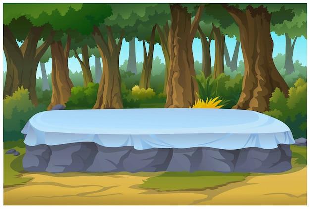 Zacienione drzewa mają miejsca do wypoczynku w lesie.