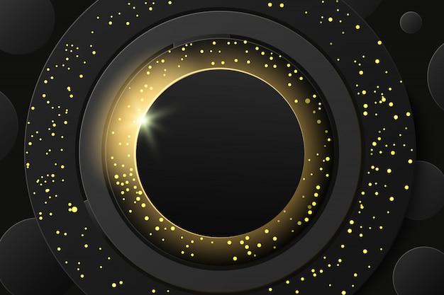Zaćmienie słońca, streszczenie czarny złoty musujący pierścień ze złotym brokatem w tle. okrągły transparent złoty stelaż z miejscem na tekst.