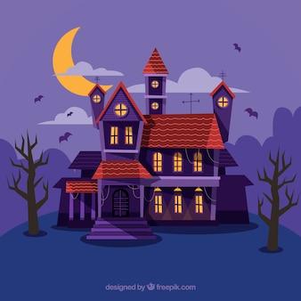 Zaczarowane tło domu w odcieniach fioletu