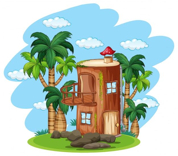 Zaczarowany drewniany dom w przyrodzie