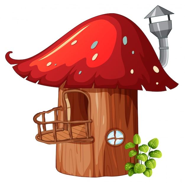 Zaczarowany drewniany domek grzybowy