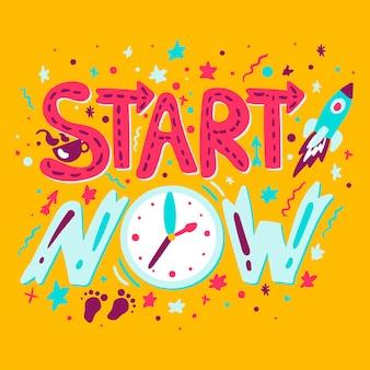 Zacznij teraz ręcznie rysowane wektor napis. motywacyjny cytat. fraza, plakat z hasłem, szablon banera