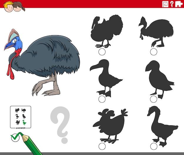 Zadanie cieni z postacią zwierzęcia kazuara z kreskówek