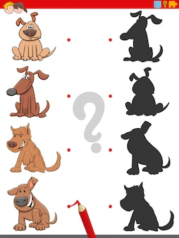 Zadanie cienia z zabawnymi postaciami psów
