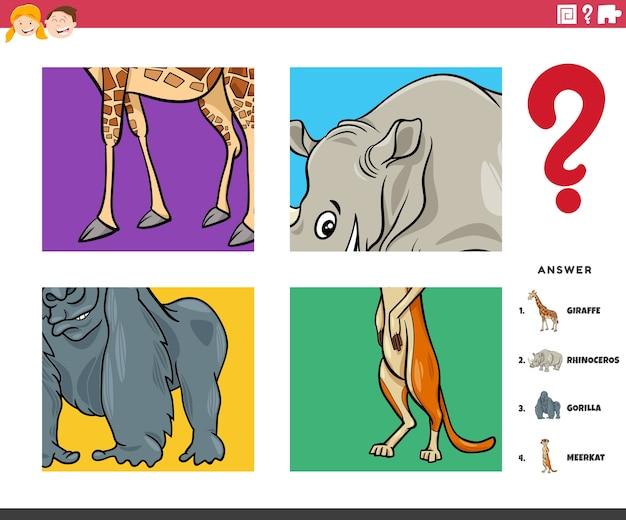 Zadanie edukacyjne dla dzieci z odgadywaniem postaci zwierząt