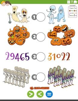 Zadanie edukacyjne większe niż mniejsze lub równe z postaciami halloween