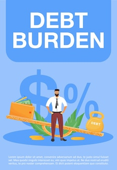 Zadłużenie plakat płaski szablon. problem finansowy, broszura zobowiązania prawnego, jedna strona broszury z postaciami z kreskówek. wysokie podatki, ulotka o pożyczce, ulotka