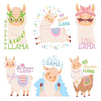 Żadnej dramatycznej lamy. śmieszne lamy lub słodkie alpaki cytat, zestaw ilustracji wektorowych szczęśliwy meksykańskiej alpaki. kolekcja uroczych puszystych zwierząt domowych z ameryki południowej lub andyjskiej. pakiet zabawnych krzyków.