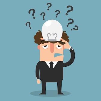 Żadny pomysłu pojęcie, biznesowy główkowanie z znakami zapytania, ilustracja