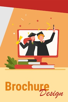 Zadowoleni absolwenci z dyplomem na monitorze. książka, uniwersytet, kupujący płaski wektor ilustracja. koncepcja edukacji i wiedzy na temat banera, projektu strony internetowej lub strony docelowej