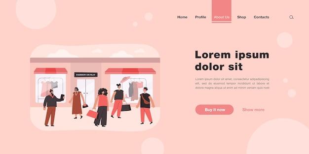 Zadowoleni konsumenci wybierający ubrania na stronie docelowej sklepu lub butiku w płaskim stylu