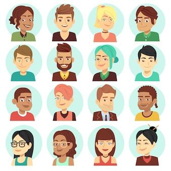 Zadowoleni ludzie stoją, szczęśliwe śmiech ludzie portrety wektorowych. zestaw portret młody mężczyzna i kobieta