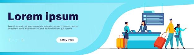 Zadowoleni podróżni przechodzą przez stanowisko rejestracji lotów. wycieczka, bagaż, ilustracja wektorowa płaski bagaż