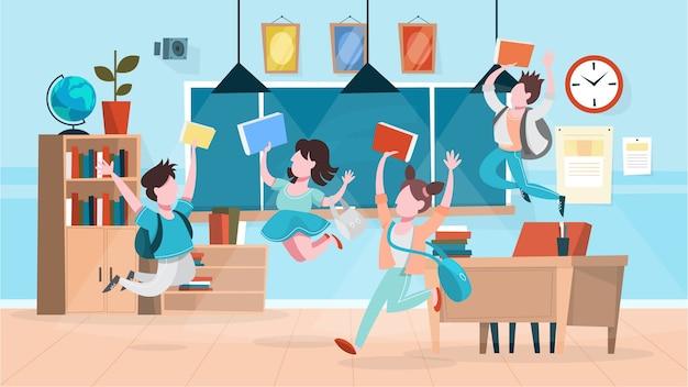 Zadowoleni uczniowie wskakują do klasy. budynek szkoły